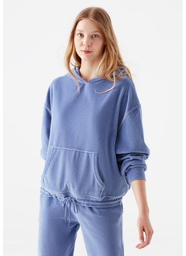 Mavi Kapüşonlu Mavi Kadife Sweatshirt Mavi